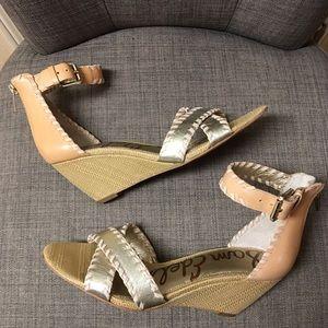 Sam Edelman pink/gold wedge sandals Sz 8 NWOT